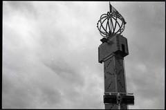 tower 1 (Beaulawrence) Tags: white canada black slr film monochrome vancouver analog 35mm lens reflex spring lomo lomography bc grain columbia scan negative single 400 april british pan asa 135 ilford apr 2012 mz50 pentaz sooc