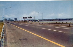 Postcard: Connecticut Turnpike approach to New Haven (jmlwinder) Tags: connecticut ct highways newhaven turnpikesscannedpostcards