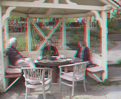 Coffee and cake in the Gazebo (katyfernleigh) Tags: 3d anaglyph stereo heimat spm twincamera ixus70 sdmsync