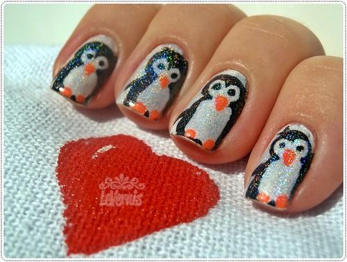 Penguin Nail Art - Feliz Dia das Mães!!
