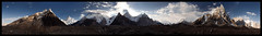 from the godwin-austen glacier (doug k of sky) Tags: pakistan panorama austen golden doug 4 7 peak panoramic glacier concordia k2 karakoram marble peaks mitre broad iv vigne throne vii godwin karakorum baltoro gasherbrum mountainscapes godwinausten kofsky