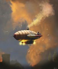 Flight-at-sunset (kenmojr) Tags: sunset sky cloud photoshop sunrise flight hexagon airship artrage vue steampunk groboto