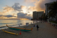 "On the Sand at Waikiki (""Explored"" 5/22/2012 #242) (jcc55883) Tags: sunset sun clouds hawaii sand nikon surf photographer oahu horizon waikikibeach bridegroom msm royalhawaiian outrigger moanasurfrider yabbadabbadoo sheratonwaikiki nikond40d40"