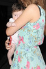 Una Healy from pop group The Saturdays, leaving her hotel holding her baby daughter Aoife Belle Foden. London, England