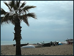 Mijas Beach! ('cosmicgirl1960') Tags: travel sea sky boats spain sand sparkle palmtree costadelsol andalusia yabbadabbadoo calademijas
