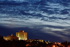 Hospital at Night, Tacoma (tacoma290) Tags: skyline clouds hospital nightscene tacoma cinematic ghostbusters stjoes dramaticclouds stjosephhospital stjosephmedicalcenter hospitalatnighttacoma