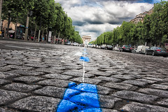 Blue Lines [#275 on Explore] (haiwepa) Tags: street paris champs elyses arc triomphe rue pavs