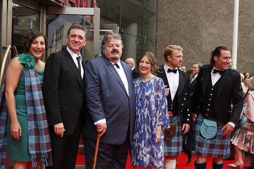 Katherin Sarafian, Robbie Coltrane, Kelly MacDonald, Kevin McKidd, Mark Andrews and Craig Ferguson on the red carpet for the European premiere of Brave at the Festival Theatre