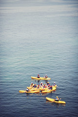 (schaharazad) Tags: ocean california blue sun color sunshine yellow photo san kayak pacific diego