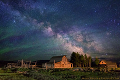 "Stars over John Moulton homestead (IronRodArt - Royce Bair (""Star Shooter"")) Tags: ranch light sky usa lightpainting nature night barn america buildings john dark painting stars star evening twilight bravo shiny long exposure heaven glow shine nightscape time dusk infinity space deep twinkle astro sparkle galaxy astrophotography planet astronomy homestead universe exploration cosmic starry cosmos constellation distant nightscapes starrynight moulton starlight grandtetonnationalpark starrynightsky johnmoultonbarn"