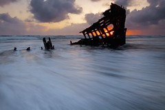 The Fire Within - - - Oregon Coast (ernogy) Tags: ocean longexposure sunset seascape beach water oregon pacific shipwreck peteriredale rushingwater ernogy
