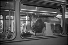 Read (Society Works) Tags: uk woman bus london film reading candid 135 islington leicamp 40mmlens
