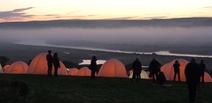 Waiting for Sunrise (Gay Biddlecombe) Tags: light camp people mist clouds dawn sussex peace cuckmere
