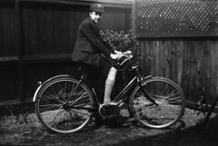 Eddie Banks on a bicycle (2) (Colin John Ford) Tags: old family school bicycle vintage found bay 1930s uniform northumberland cap banks 30s whitley