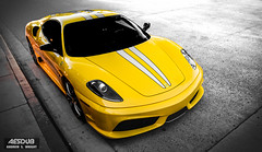 Shining Stable. (AESDUB) Tags: chris white black cars yellow silver gold grey cool long ride stripe balls andrew ferrari banana exotic whip wright ruth sick scuderia f430 rari 16m awesone douky aesdub
