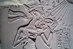 House Altar wih Akhenaten, Nefertiti and Three Daughters, detail with Akhenaten Holding Daughter