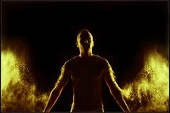 """""""L'or vritable ne craint pas le feu."""" (yume1310) Tags: portrait people man black france canon photography photo noir photographie couleurs lumiere nuit softbox couleur homme clairage strobist 60d"""