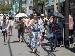 Go Go Yukata (kasa51) Tags: street city people japan couple kamakura olympus omd  summerkimono   em5  mzuikodigitaled75mmf18