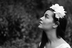 Leslie. (Nicolas Fourny photographie) Tags: blackandwhite bw model canon 600d 50mm portrait portraiture womanportrait girlportrait cute gorgeous beautifulgirl beautifulwoman romanticism whitedress flowers flowersinthehair dof depthoffield profondeurdechamp