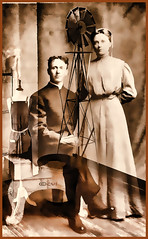 Farm Couple..a Portrait (creepingvinesimages - mostly off while I relocate ) Tags: hww decorativewindmill windmill mono vintage couple digitalmanipulation ruckersville hagerstownmaryland people 1900s