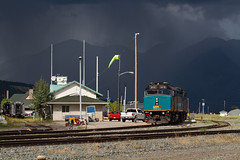 Storm light over Jasper (Moffat Road) Tags: viarail via canadian no1 1 emd f40ph3 6419 station jasper storm stormysky rain darksky alberta passengertrain railroad train locomotive canada ab