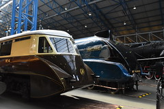 A Flying Banana and a Fast Duck (simmonsphotography) Tags: yorkshire train railway railroad locomotive preservation preserved nrm nationalrailwaymuseum museum york steam engine lner streamlined streamliner flyingbanana railcar gresley a4 4468 mallard aec gwr
