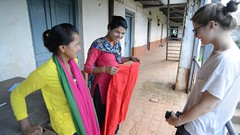 Petty Coat (1) (www.WeAreHum.org) Tags: textile nepal thread bobbins gandhi tulsi ashram school for women kathmandu sowing weaving winds threads mechanical loom wood shuttles feet arts
