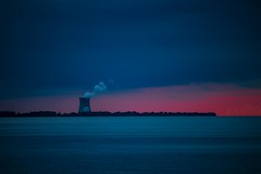 Nuclear night (Notkalvin) Tags: nuclear plant powerplant coolingtower sunset evening power notkalvin mikekline notkalvinphotography otdoor shore lakeerie energy night explore explored flickrexplore thankyou