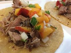 Carnitas tacos with peach salsa (htomren) Tags: phonepics food tacos pork