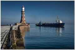 High noon at Roker (Hugh Stanton) Tags: pier calm lighthouse ship dredger reflections appickoftheweek