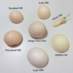 BJD Resin Comparison (Shuga Youko) Tags: abjd bjd resin comparison match normal white cream pink skin souldoll luts unoa soom fairyland magic time