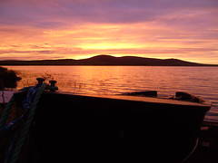 Dinghy (stuartcroy) Tags: orkney island sunset scotland scenery sea sky sony still sand orphir orange reflection ripples red beautiful blue bay beach black