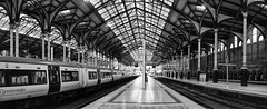 London Liverpool Street station (Westhamwolf) Tags: london liverpool street train rail station city capital england abellio greater anglia bw black white panorama
