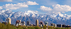 Salt Lake City Utah USA (Utah Images - Douglas Pulsipher) Tags: city travel sunset vacation urban panorama lake snow mountains tourism skyline architecture buildings square rockies temple town utah wasatch downtown commerce cityscape afternoon snowy salt cities center front panoramic business capitol saltlakecity convention destination mormon range towns capped metropolitan tabernacle mts mormons