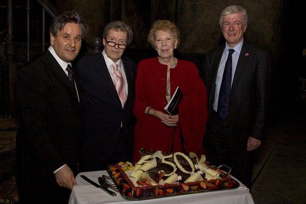 Antonio Pappano, John Copley, Dame Janet Baker and Tony Hall after the opening night of La bohème © Neil Gillespie/ROH 2012