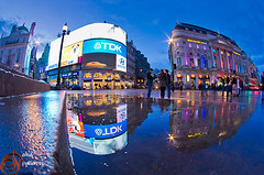 London Piccadilly Reflection (david gutierrez [ www.davidgutierrez.co.uk ]) Tags: road street city uk nightphotography travel blue light england sky people urban reflection building london art water lamp rain k architecture night wonderful shopping photography mirror photo neon cityscape colours image pentax unitedkingdom 5 famous sightseeing piccadilly icon architectural piccadillycircus fisheye advert bluehour colourful dslr popular touristattraction shaftesburyavenue k5 neonsigns cityofwestminster lowview illuminatedsigns londonswestend davidgutierrez pentaxart pentaxk5 pentaxsmcda1017mmf3545ediffisheye