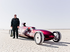 Driver Ken Symer with his Hot Rod (Johannes Huwe) Tags: auto california old lake car race speed utah desert salt may ken dry racing hasselblad flats event saltlake land hotrod medium format speedy cinematic hdr bonneville racer 2012 kalifornien elmirage 412 symer hodrod landspeed goldcstrdsts trueradiusbending