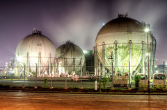 Balls of Steel (arcreyes [-ratamahatta-]) Tags: industry japan night landscape machine  bluehour industrialpark kawasaki     facotry kanagawaprefecture ukishima  agustinrafaelreyes giantsteelballs