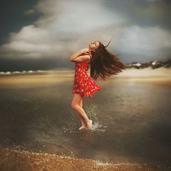The Whispering Wind (Shelby Robinson) Tags: ocean red portrait storm beach water girl clouds self canon rebel 50mm sand waves dress ripple splash f18 har teenage t1i