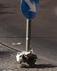 Books in Secondary Usage (zeevveez) Tags: zeevveez canon book pavement road asphalt strange random roadsign arrow