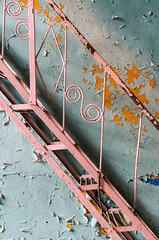 Pink stairs (jrej www.gregoirec.com) Tags: pink blue abandoned stairs germany peeling paint pentax military soviet ddr limited barracks k5 urbex vogelsang gssd smcpfa31mmf18