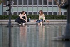 Foot Dippers (Mike Franks) Tags: friends lake paris france reflections picnic ladefense 100400mm esplanadedeladefense