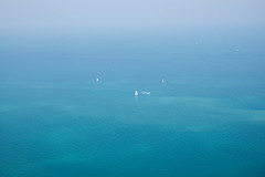 Lake Michigan: Summer Haze (romanboed) Tags: leica summer usa lake chicago window john boats haze sailing open michigan infinity great lakes sails sunny aerial m hancock 50 summilux birdseye 240 nohorizon