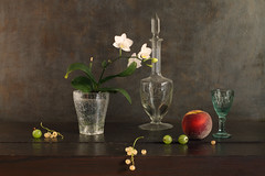 Sensibility And Tenderness (panga_ua) Tags: sensibilityandtenderness flowersinpot orchids whiteflowers july summertime fruits berries gooseberries whitecurrant peach glass carafe