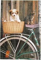 La bicyclette / Good Friends (Leonisha) Tags: dog bicycle cat chat basket puzzle hund katze fahrrad jigsawpuzzle korb