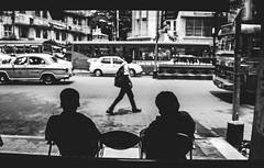 Loanliness of a City (arkamitralahiri) Tags: india indian people outdoor kolkata calcutta westbengal bengal bengali blackandwhite monochrome blackwhite monotone monotonemonochrome streetphotography streetscene road photoshop bus stoppage busstop cab taxi urban surrealistic