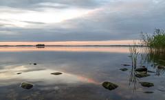 geometry of silence (Mris Pehlaks) Tags: latvia lettland latvija landscape lake sky clouds island reflection sunset stones horizon