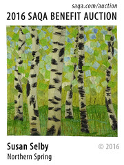 Northern Spring by Susan Selby (saqaart) Tags: artquilts saqa fiberart quilts textiles artwork stitched layered spring trees green birches