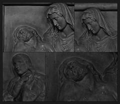 5 -  Rambouillet, glise Saint-Lubin-et-Saint-Jean-Baptiste, Bas-relief - Descente de croix (melina1965) Tags: aot august 2016 ledefrance yvelines nikon d80 noiretblanc blackandwhite bw mosaque mosaques mosaic mosaics collages collage rambouillet sculpture sculptures basrelief basreliefs glise glises church churches macro macros