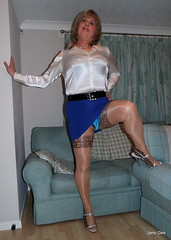 4 Peek a blue (janegeetgirl2) Tags: transvestite crossdresser crossdressing tgirl tv ts heels sheer shine patterned tights office blue pa blouse secretary satin mini short skirt stilettos high jane gee